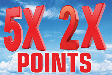 5X and 2X Points Every Monday