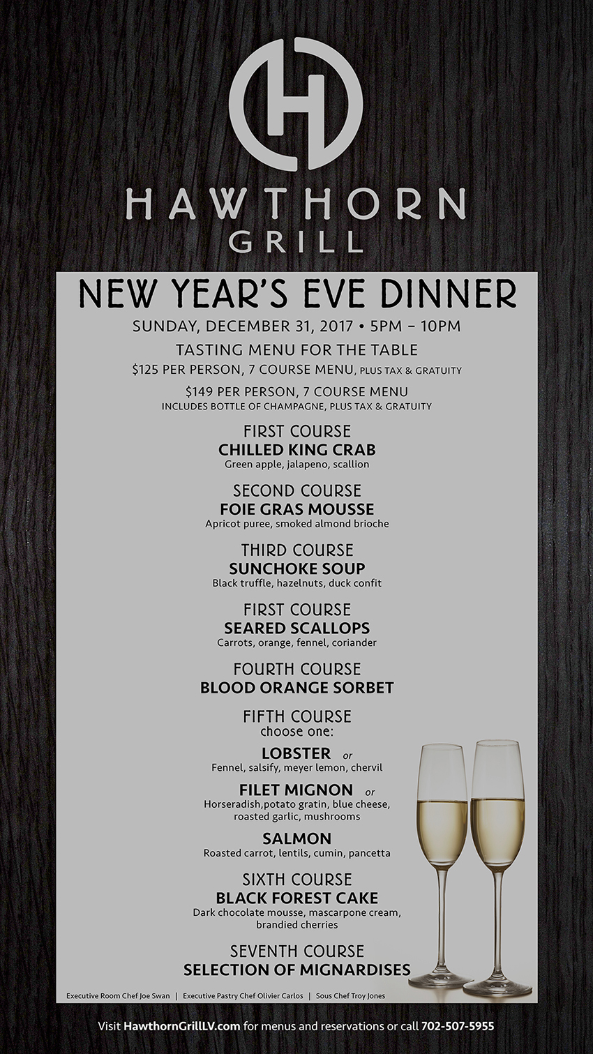 new years eve dinner at hawthorn grill