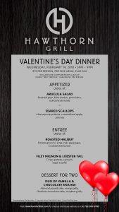 Valentine's Menu at Hawthorn Grill