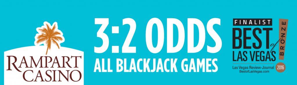 Best Odds Blackjack in Las Vegas at Rampart Casino