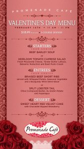 Valentines Day Menu - Promenade Cafe - Las Vegas Food Deals