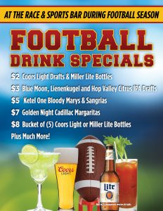 Football Drinks Specials at Rampart Race & Sports Bar