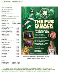 St. Patrick's Day Party 2018 - The Pub is Back for One Day