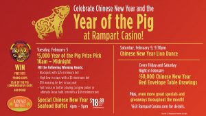 Year of the Pig Prize Pick - Chinese New Year at Rampart Casino