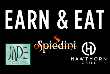 Earn and Eat at Hawthorn Grill, Jade Asian Kitchen & Noodles, and Spiedini Ristorante